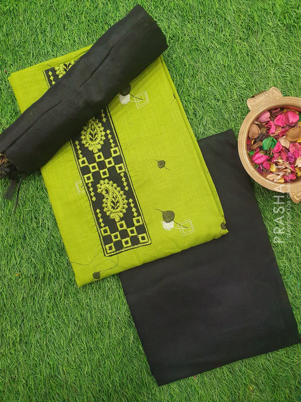 Cotton dress material green and black with embroided neck and dupatta