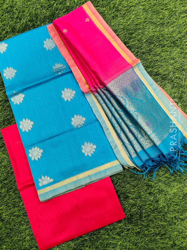 Silk cotton dress material cs blue and pink with zari woven buttas and woven dupatta