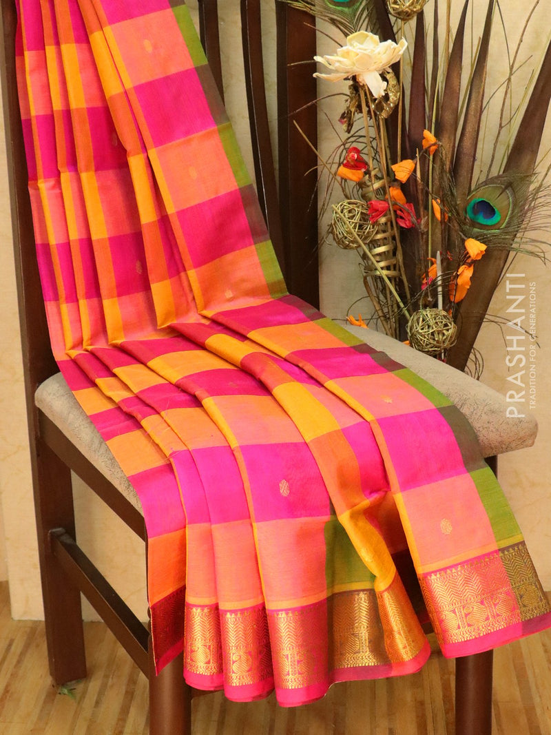 Silk Cotton Saree pink green and mustard paalum pazhamum checks with zari buttas