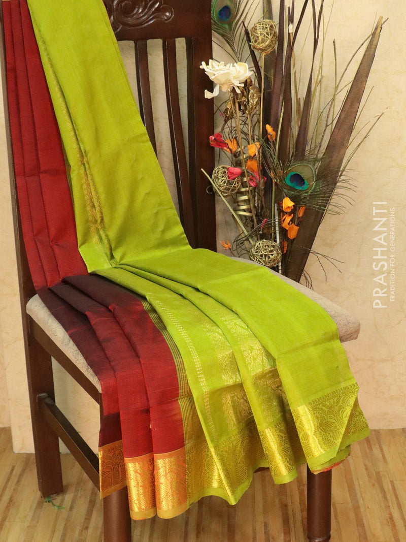 Silk Cotton Saree maroon and green with zari woven buttas and border