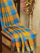 Silk Cotton Saree mustard and cs blue paalum pazhamum checks with zari buttas