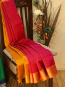 Silk Cotton partly Saree pink and mustard with zari woven buttas and zari border