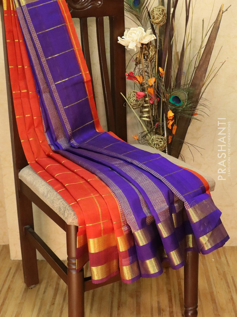 Silk Cotton Saree red and violet with zari checks and rettapet border