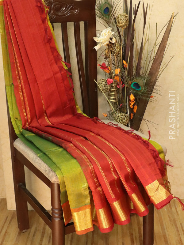 Silk Cotton Saree lime green and red with zari buttas and zari woven border
