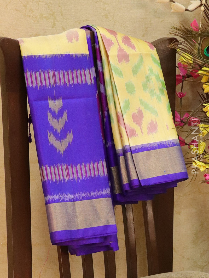 Ikat soft silk saree sandal and violet with Ikat weaves and golden zari border