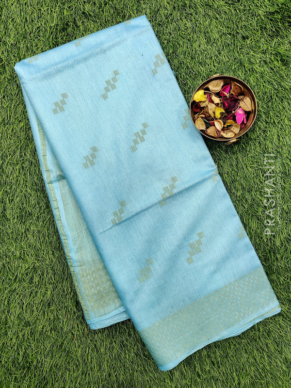 Semi silk bhagalpuri saree light blue with thread woven simple border