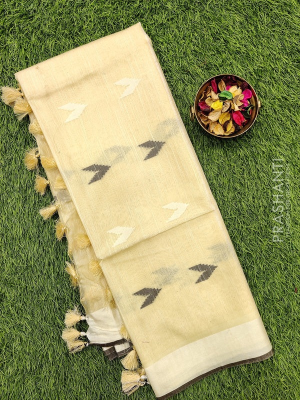 Semi silk bhagalpuri saree sandal with thread woven simple border