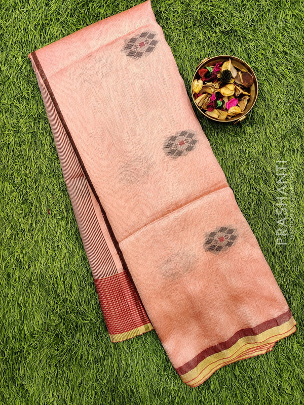 Semi silk bhagalpuri saree peach with thread woven simple border
