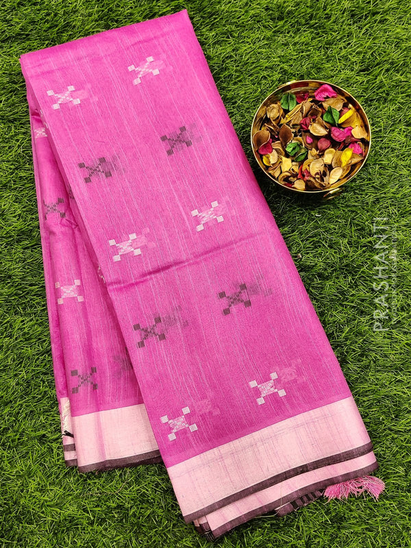 Semi silk bhagalpuri saree pink with thread woven simple border