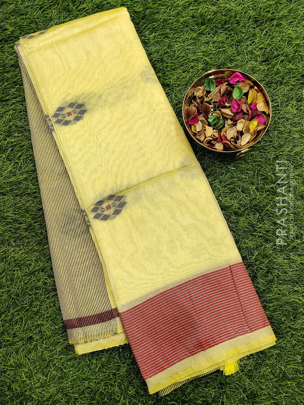 Semi silk bhagalpuri saree mild yellow and red with thread woven simple border