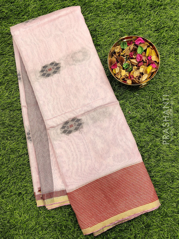 Semi silk bhagalpuri saree baby pink and red with thread woven simple border