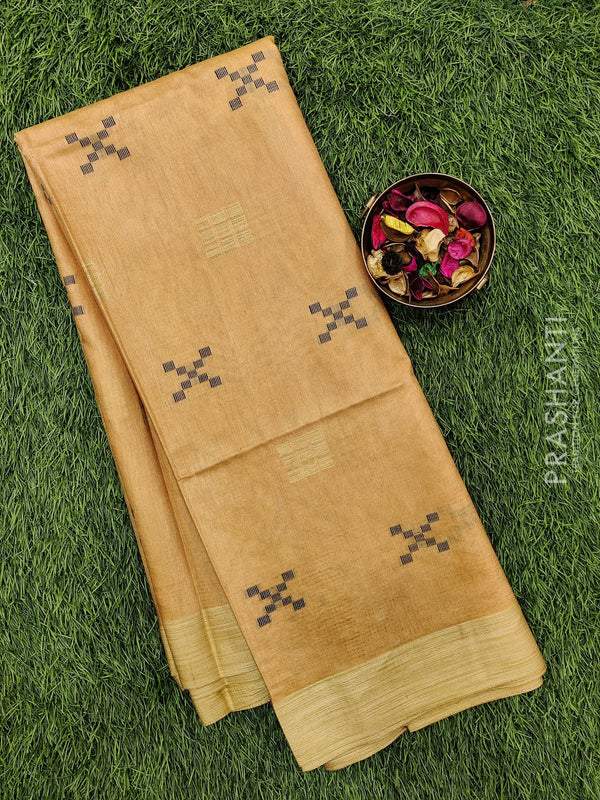 Semi silk bhagalpuri saree sandal with thread woven simple border for Rs.Rs. 1290.00 | by Prashanti Sarees