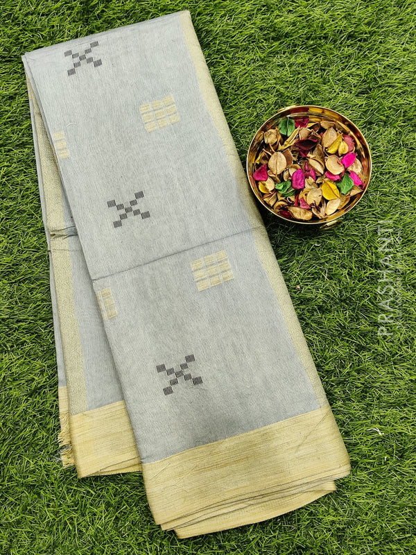 Semi silk bhagalpuri saree grey with thread woven simple border