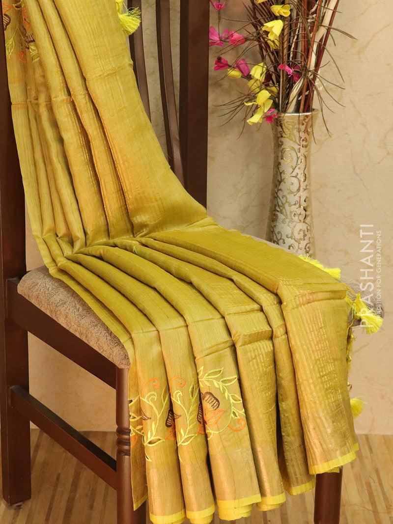Pure tussar silk saree mustard yellow with cut work and zari border
