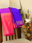 Pure kanjivaram silk sareee blue and dual shade of pink with checked rettapet border in half and half style