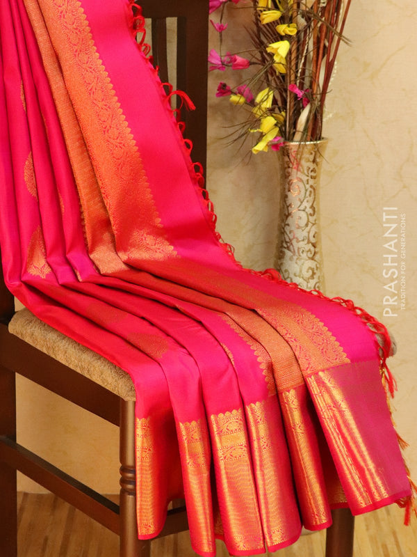 Pure kanjivaram silk sareee pink with zari woven buttas and rich golden zari border
