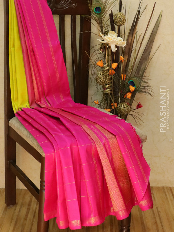 Pure kanjivaram silk sareee lime green and pink with plain body and zari checked pattern half and half style