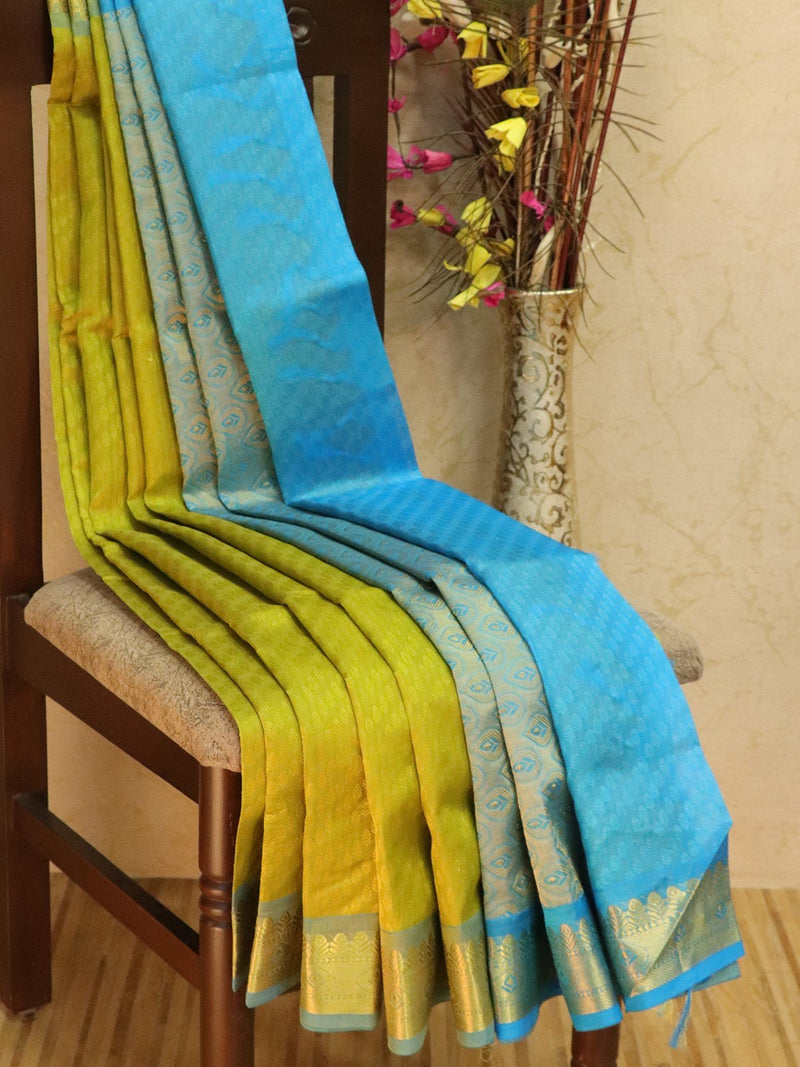 10 yards silk cotton jacquard saree green and cs blue with traditional zari woven border