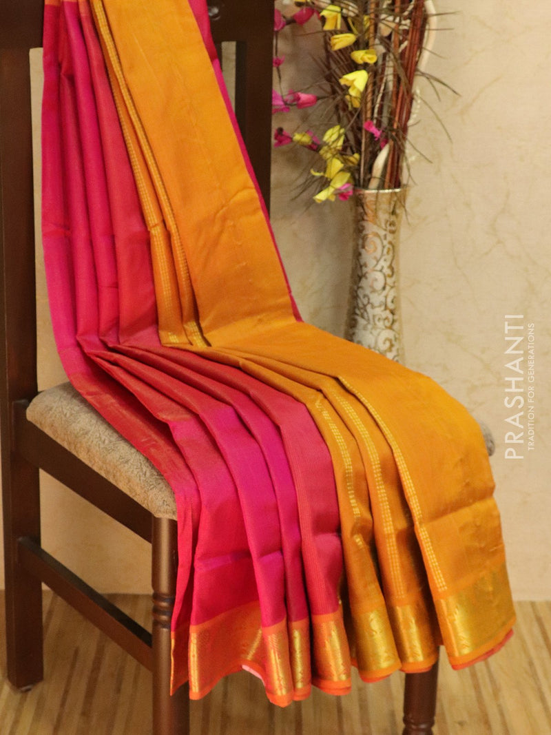 10 yards silk cotton saree pink and mustard vairaosi with traditional zari woven border