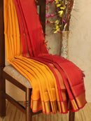 10 yards silk cotton saree mango yellow and red with zari woven border