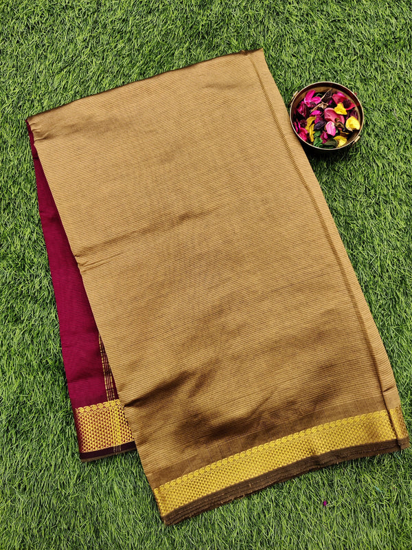 10 yards semi silk cotton saree beige and magenta pink with zari woven border