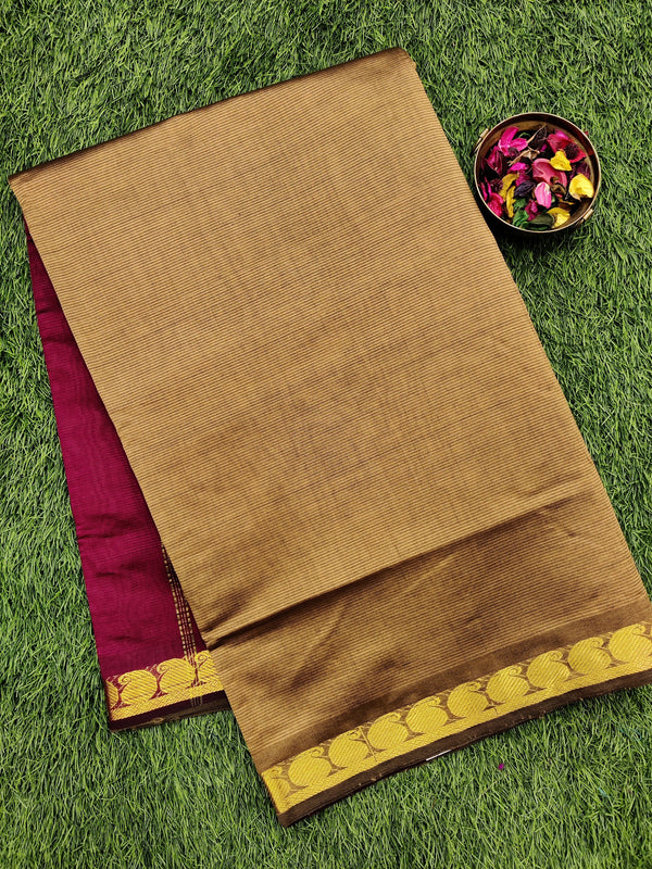 10 yards semi silk cotton saree beige and magenta pink with zari woven border for Rs.Rs. 1490.00 | Semi Silk Cotton by Prashanti Sarees