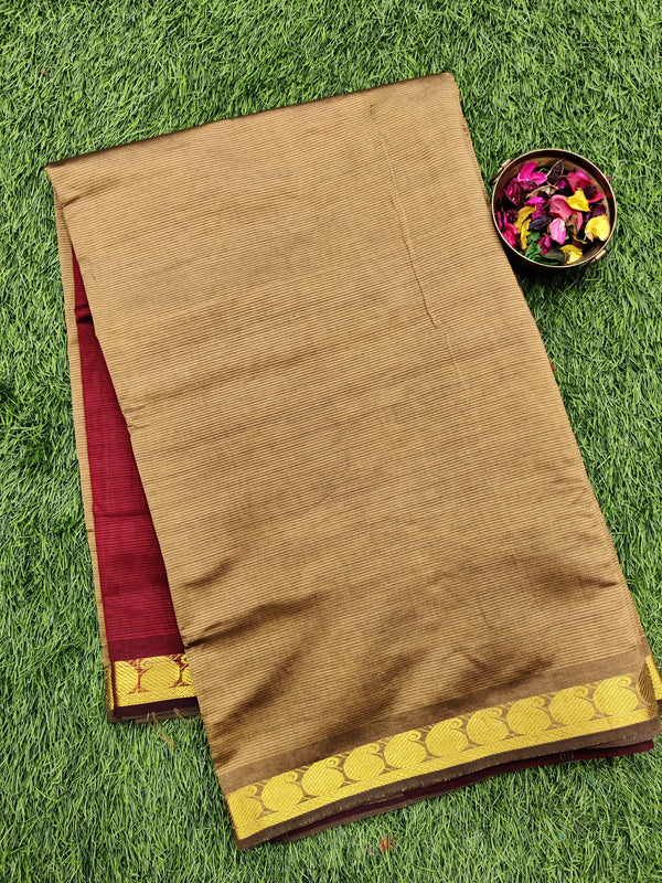 10 yards semi silk cotton saree beige and maroon with zari woven border