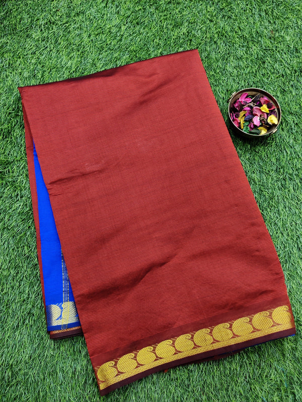 10 yards semi silk cotton saree maroon and blue with zari woven border