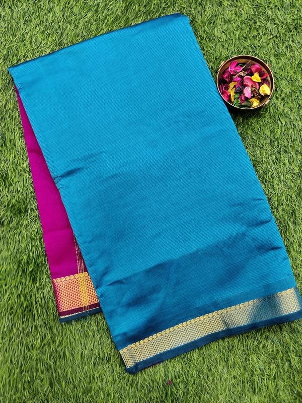 10 yards semi silk cotton saree peacock blue and pink with zari woven border