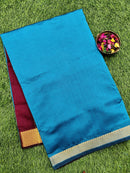 10 yards semi silk cotton saree peacock blue and maroon with zari woven border