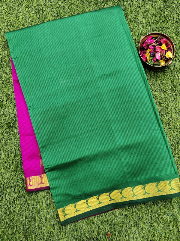 10 yards semi silk cotton saree green and pink with zari woven border