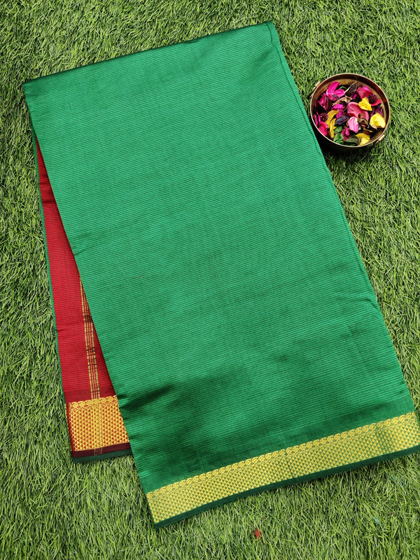 10 yards semi silk cotton saree green and red with zari woven border