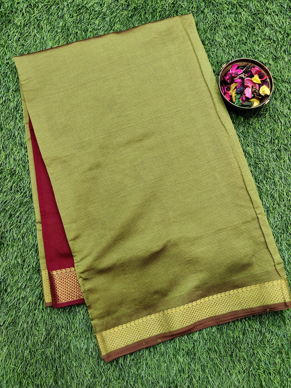 10 yards semi silk cotton saree mehandi green and maroon with zari woven border