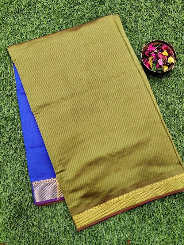 10 yards semi silk cotton saree mehandi green and blue with zari woven border