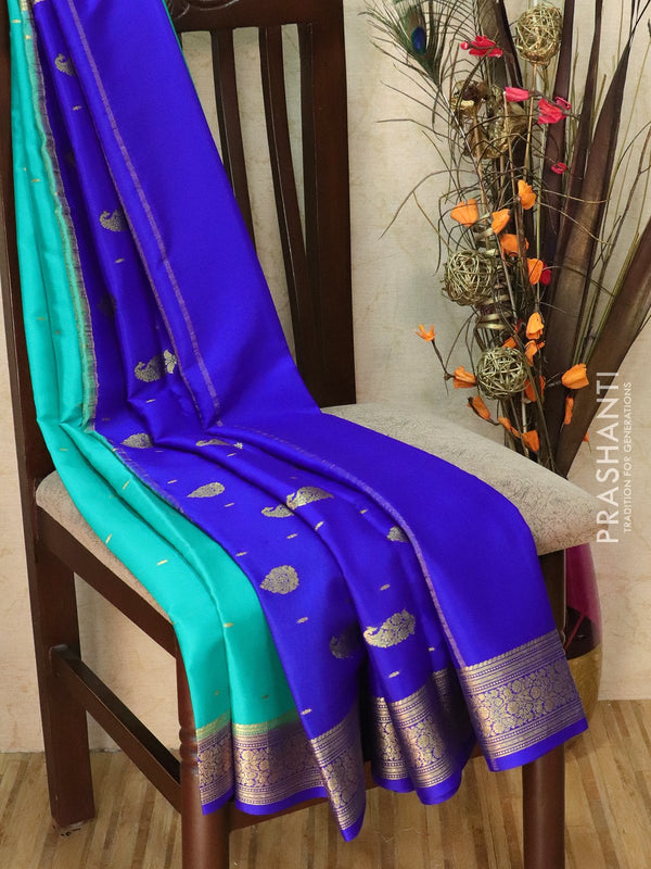 Pure Mysore Crepe silk saree teal green and blue with small zari buttas and rich zari ganga jamuna border