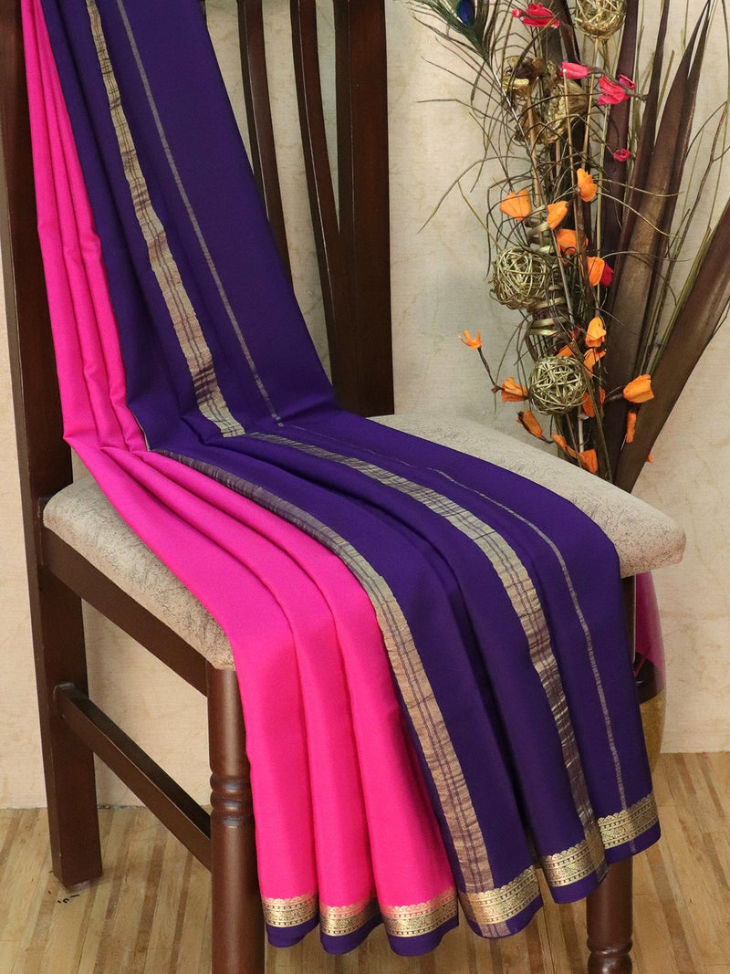 Pure Mysore Crepe silk saree pink and blue with rich zari border
