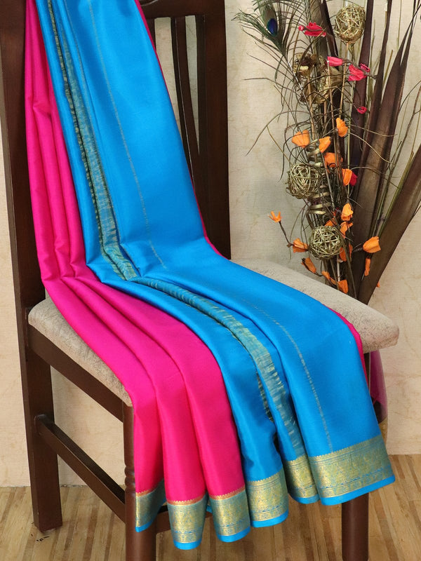 Pure Mysore Crepe silk saree pink and cs blue with rich zari border