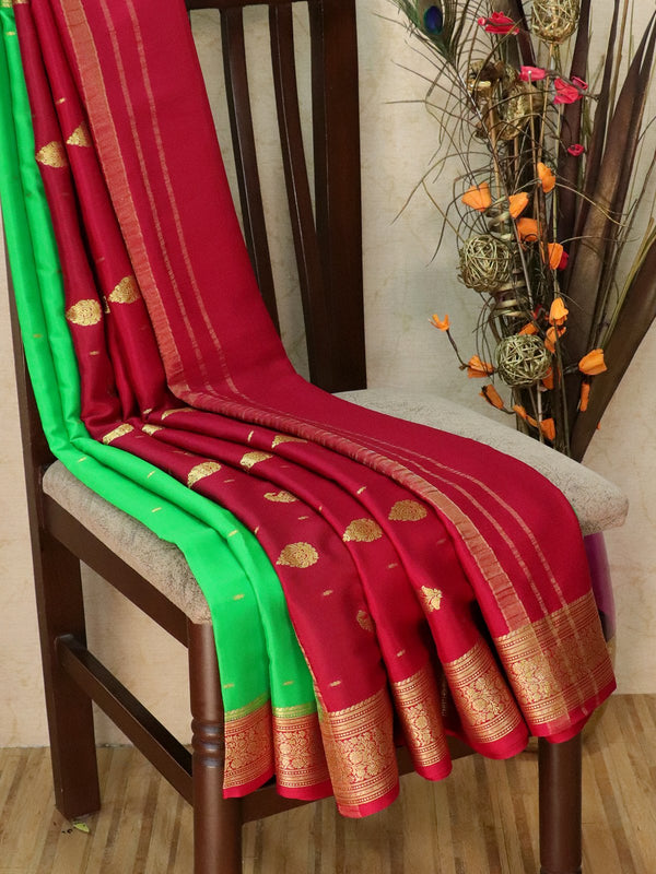 Pure Mysore Crepe silk saree green and red with zari buttas and rich zari woven border
