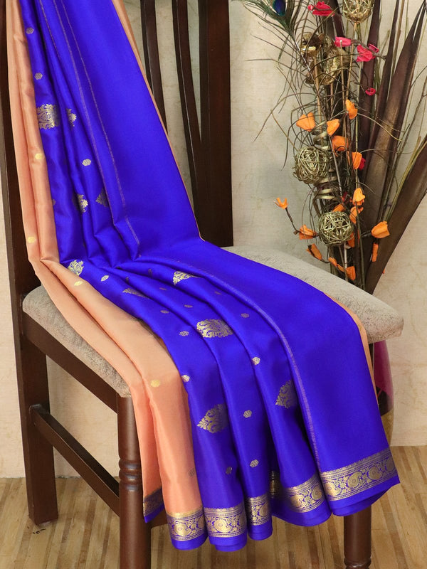 Pure Mysore Crepe silk saree chiku and blue with small zari buttas and rich zari ganga jamuna border