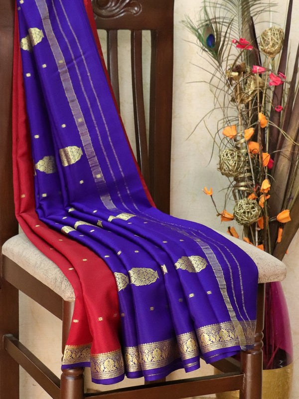 Pure Mysore Crepe silk saree maroon and blue with zari buttas and rich zari woven border