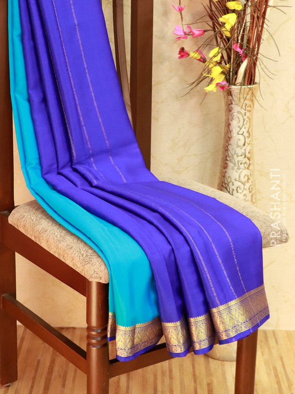 Pure Mysore Crepe silk saree cs blue and blue with rich zari woven border