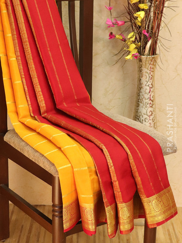 Pure Mysore Crepe silk saree yellow and red with zari woven lines and rich zari woven border