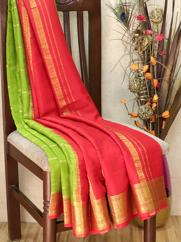 Pure Mysore Crepe silk saree sap green and red with zari woven lines and rich zari woven border