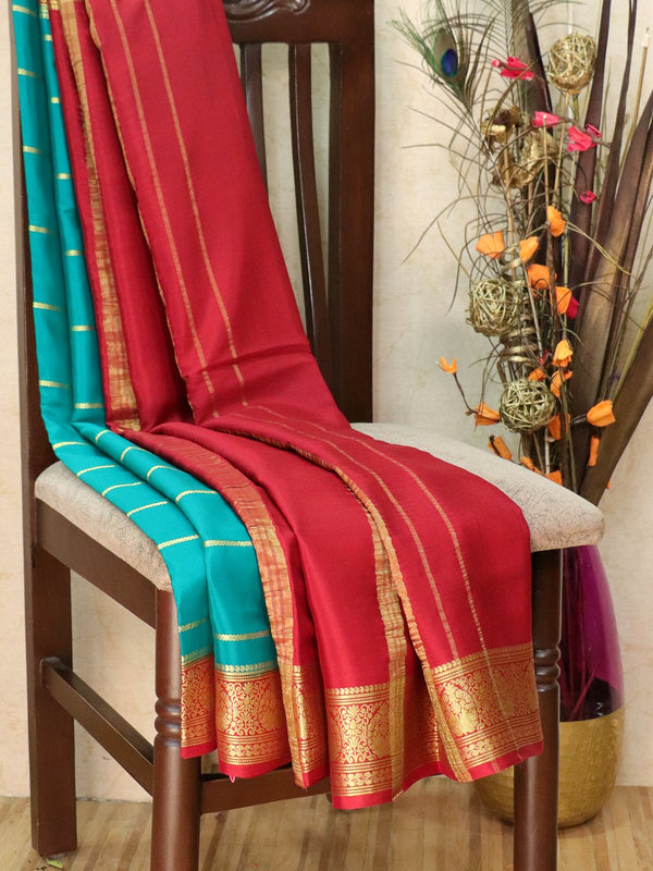 Pure Mysore Crepe silk saree green and red with zari woven lines and rich zari woven border