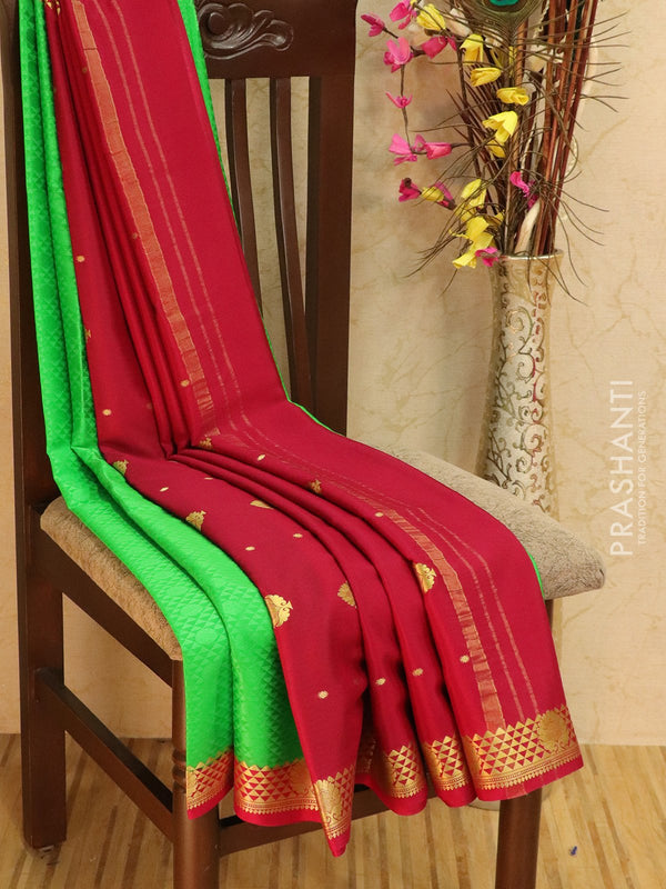 Pure Mysore Crepe silk saree parrot green and pink with all over self emboss and rich zari border