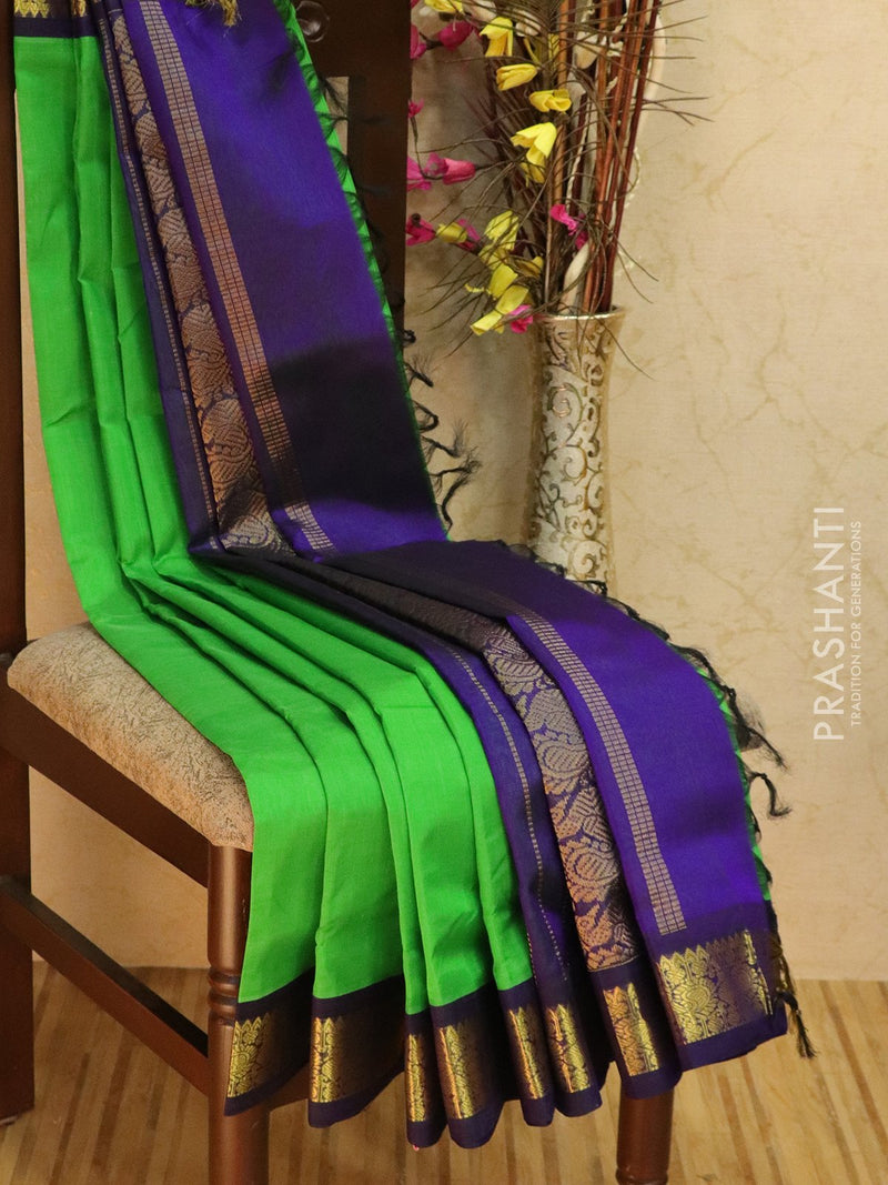 10 yards silk cotton saree green and navy blue with plain body and zari woven korvai border