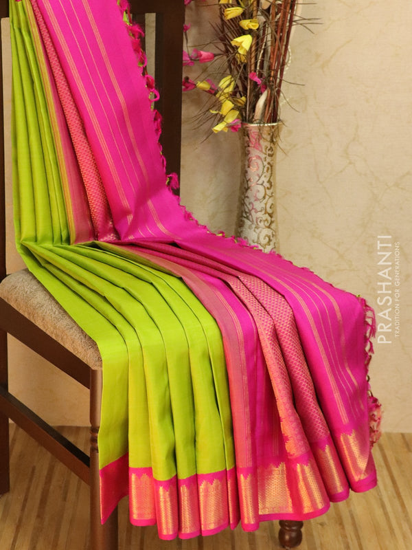 10 yards silk saree lime green and pink with plain body and zari woven korvai border