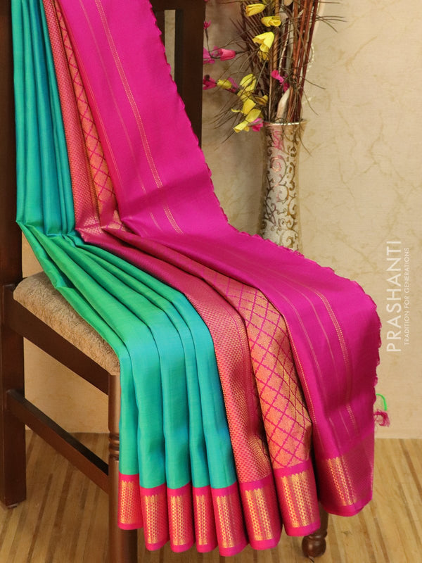 10 yards silk saree dual shade of mild blue and pink with plain body and zari woven korvai border