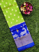 Pure ikat silk pavadai sattai material green and blue with ikat weaves and zari border for 0 to 2 years