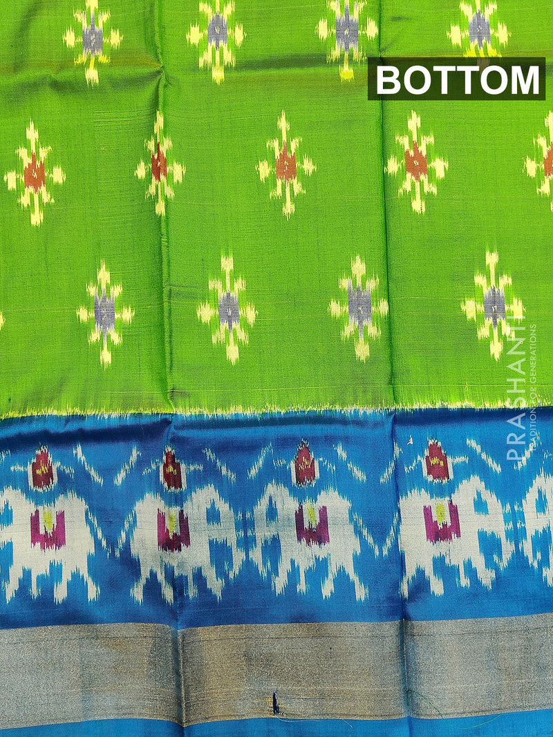 Pure ikat silk pavadai sattai material dual shade of green and cs blue with ikat weaves and zari border for 0 to 2 years